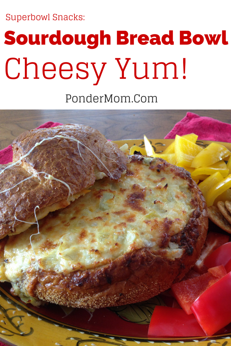 Superbowl Snacks: Baked Cheese and Artichoke Dip in a Sourdough Bread Bowl
