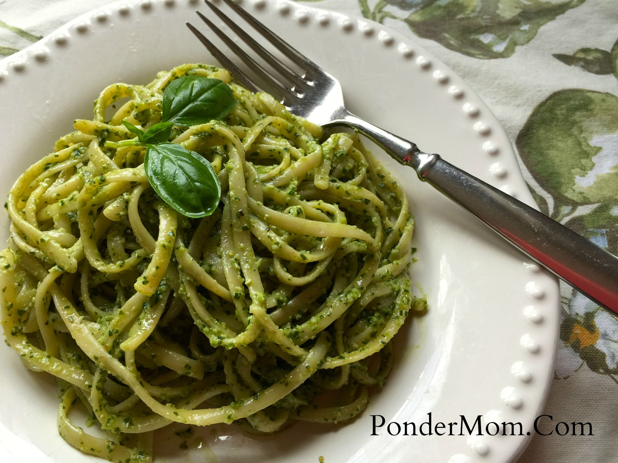 "Garden Treats, Part II: Basil Pesto Pasta Using Linguini a.k.a., ""Lingreeni"""