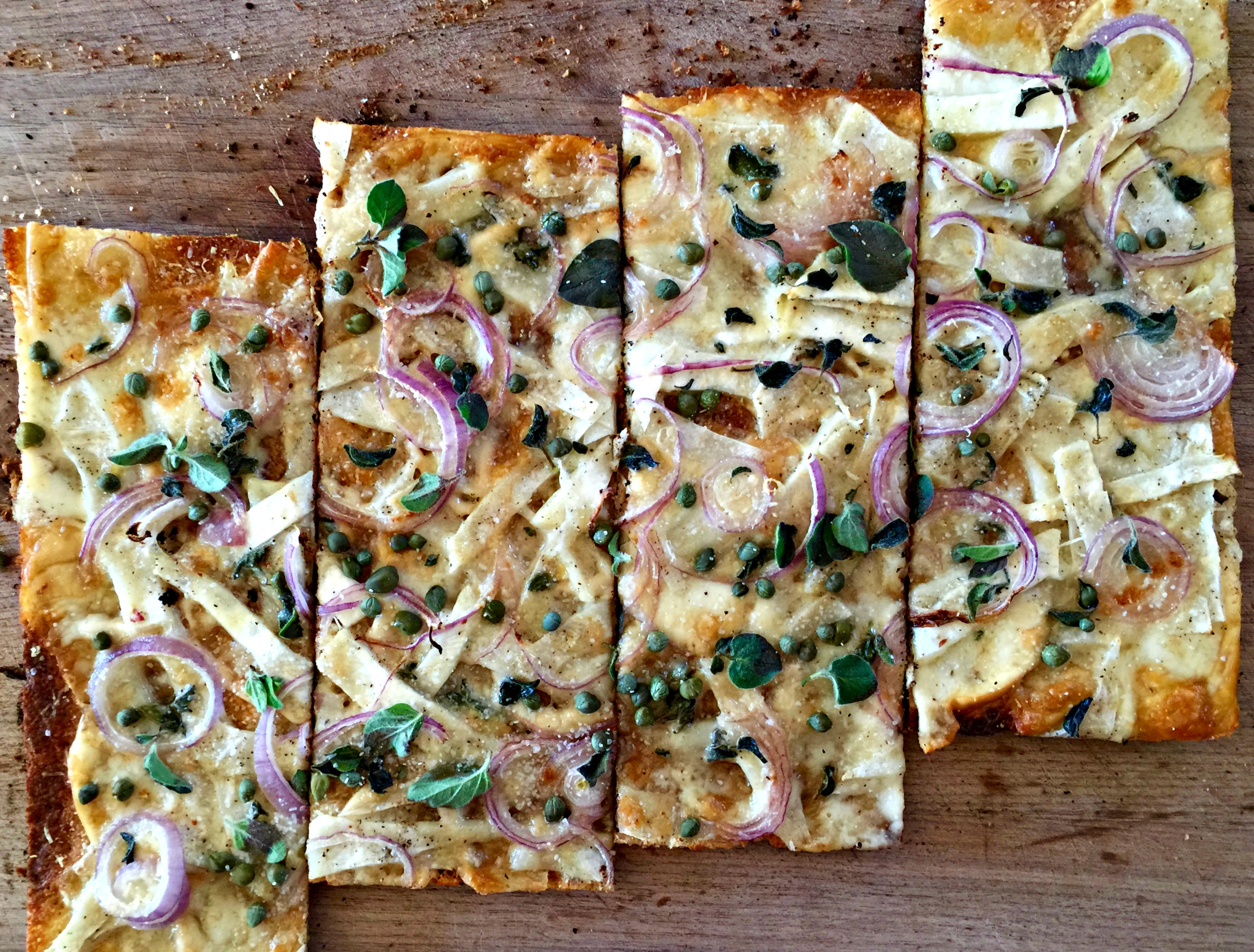 A Delicious, Easy Weeknight Meal: Pizza Bianca with Scamorza Cheese and Celery Root